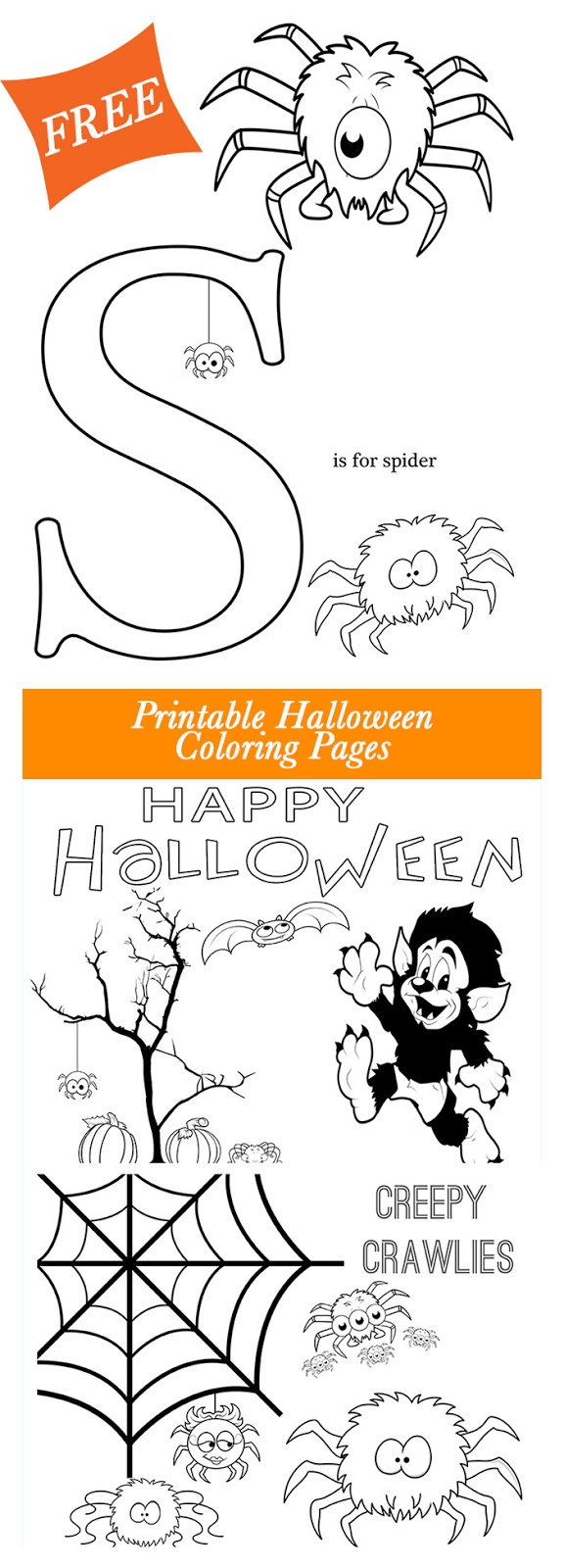 Get these free Halloween Printable coloring pages from Major Hoff Takes A Wife. Super cute pages feature friendly spiders, the letter S and a few other Halloween themed items. Enjoy!