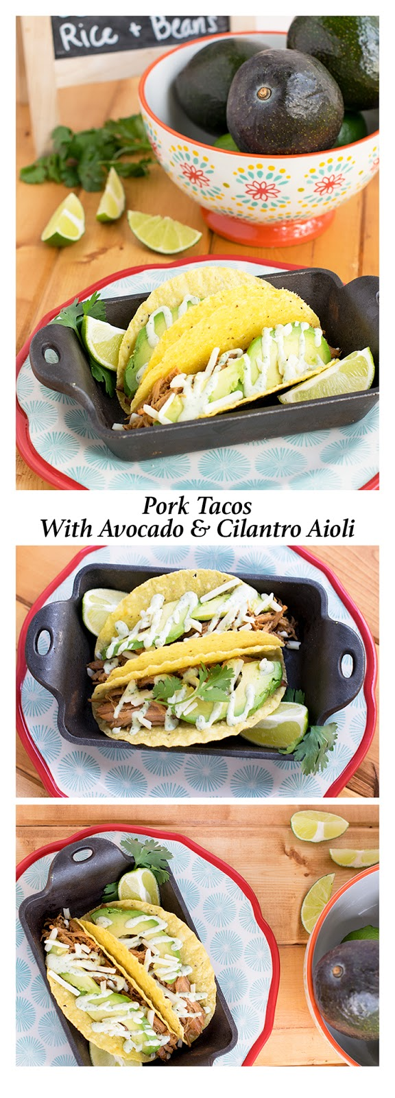 These easy pork tacos will knock your socks off! Make those hectic back to school dinners even easier by utilizing your slow cooker for this recipe. Features an additional recipe for Cilantro Aioli that makes the tacos taste like you just ordered them from a taco truck! #pork #GetBackToPork #recipe #dinner #taco #WeaveMadeMedia