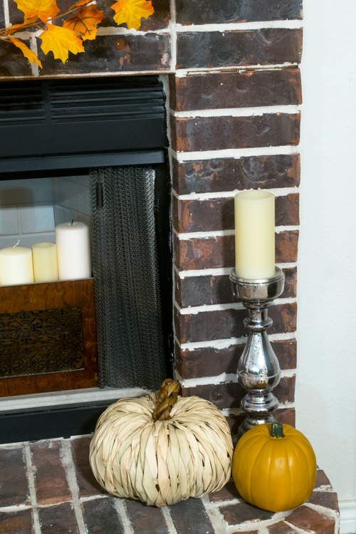 Raffia Pumpkin and mercury glass