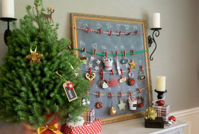 a simple chalkboard ornament DIY advent calendar in a dining room
