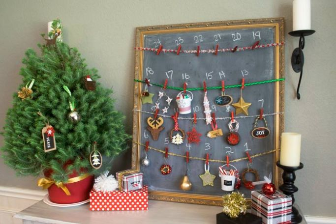 make an advent calendar with just a few items like ornaments and a small tree