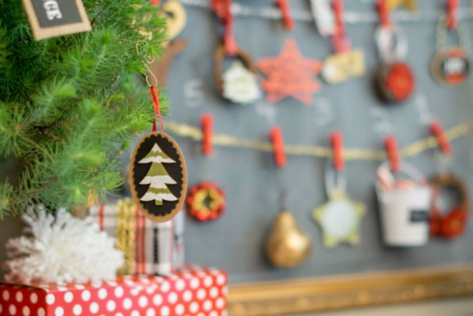 mini tree ornament with a snowy tree