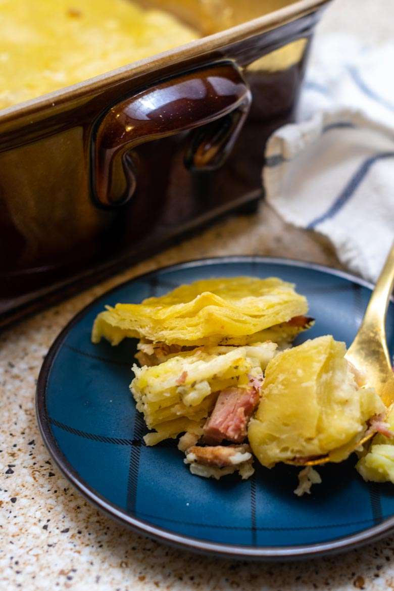 a plate full of savory potato and cheese pie with ham