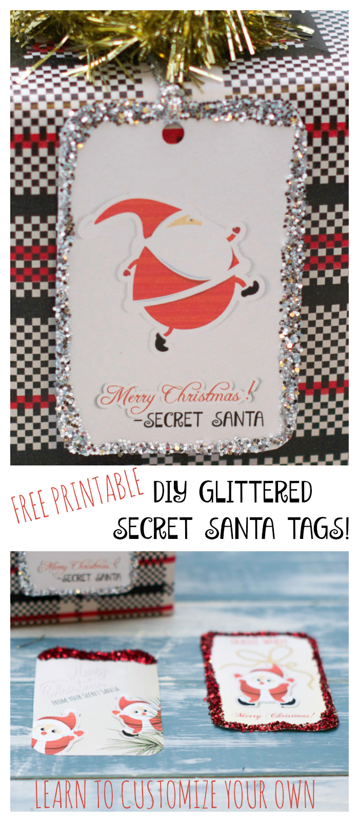 DIY glittered secret santa gift tags! Looking for a fun and cute way to tag your Secret Santa gifts?