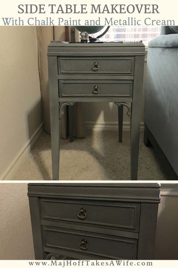 A fun side table gets a makeover with Country Chic All in One paint and Country Chic Metallic Accent Cream. Be sure to see the step by step process to making this little table **Sparkle**. Chalk paint makes for less prep work and the accent cream gives a nice shimmer. A perfect way to jazz up your DIY furniture painting projects! via @mrsmajorhoff