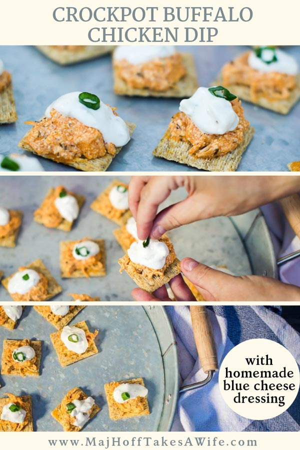Game day appetizers never tasted so good! Buffalo chicken dip crock pot bites feature a savory buffalo sauce, shredded chicken topped with a homemade blue cheese dressing!Perfect tailgating food since it uses the crock pot! #GameDay #appetizers #buffalochicken #crockpot #slowcooker #buffalochicken #diprecipe #footballfood via @mrsmajorhoff