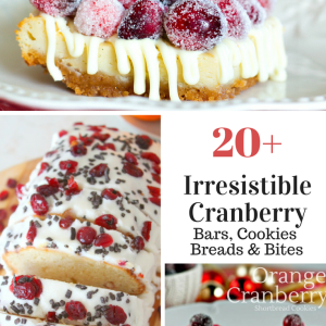 All your favorite cranberry recipes! Find Cranberry cookies, bars, bites and more! #cranberry #cranberrydessert