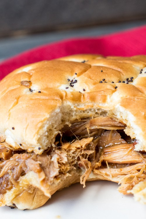 Cranberry BBQ Pulled Pork in a slow cooker