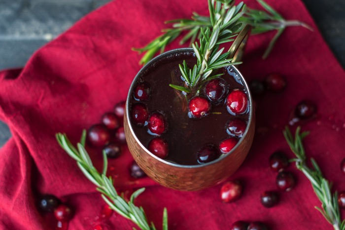 Rosemary Cranberry Moscow Mule Holiday Drink Recipe