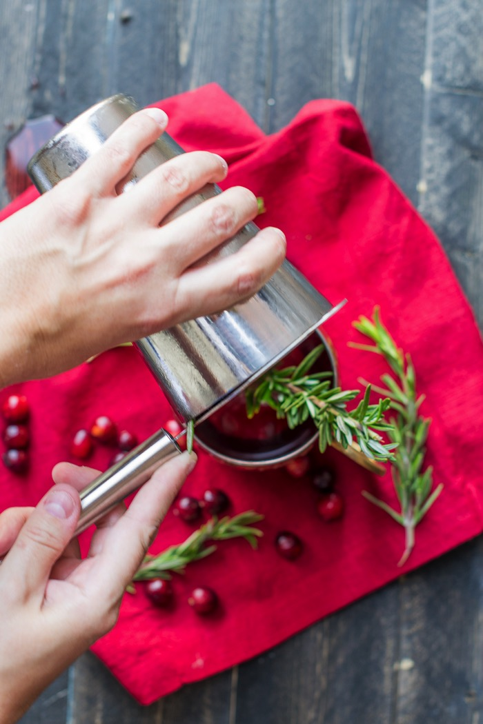 Rosemary Cranberry Moscow Mule alcoholic drinks