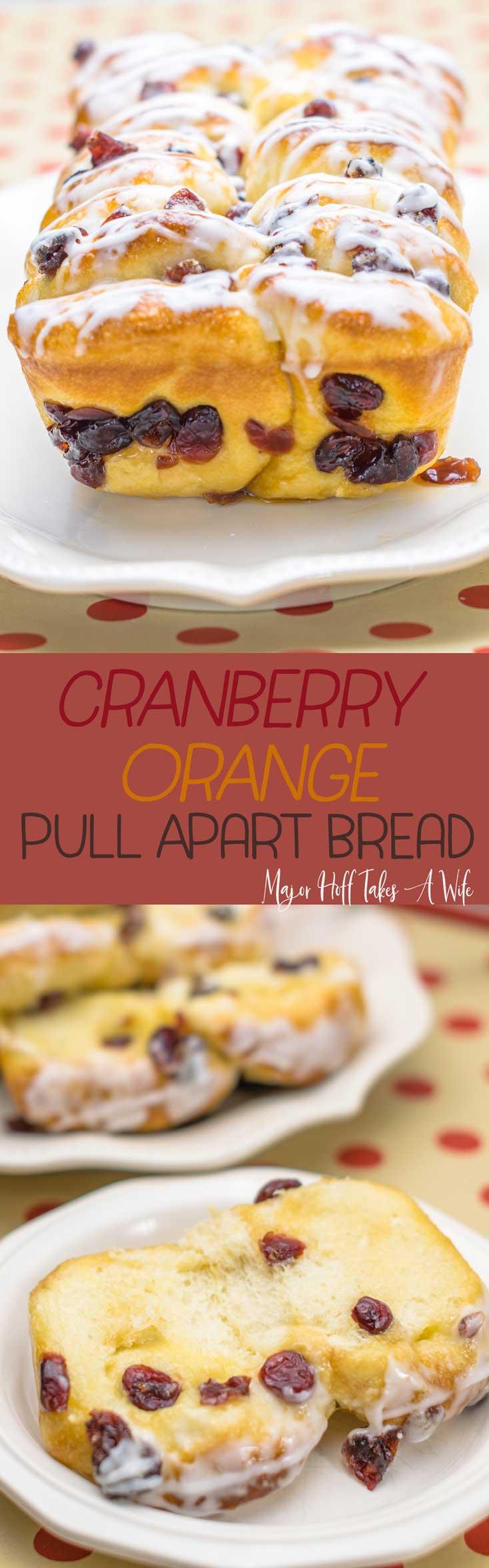 Pull apart cranberry orange bread! This easy to make dessert bread features frozen yeast rolls, brown sugar, orange juice and dried cranberries. #cranberry #quickbread #rhodesrolls #cranberrybread via @mrsmajorhoff