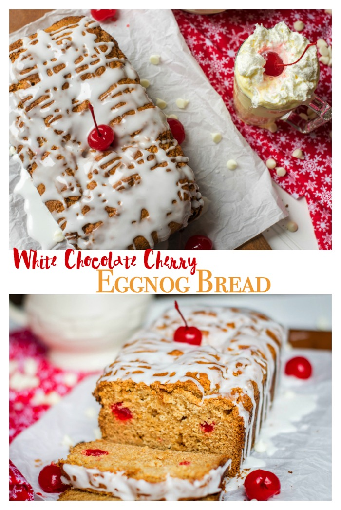 Put a cherry on it! This easy quick bread will satisfy your holiday sweet tooth! This easy quick bread recipe features white chocolate chips, maraschino cherries and delicious holiday eggnog. Perfect for Christmas breakfast, lunch, or snack. #sp