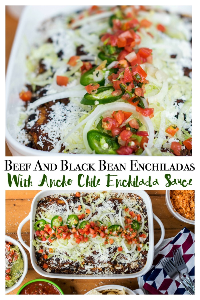 Need a tasty weeknight supper that is easy to freeze or make ahead? You'll adore Beef and Bean Enchiladas With Homemade Ancho Chile Enchilada Sauce! #LaVaquitaCheese #CollectiveBias #Ad