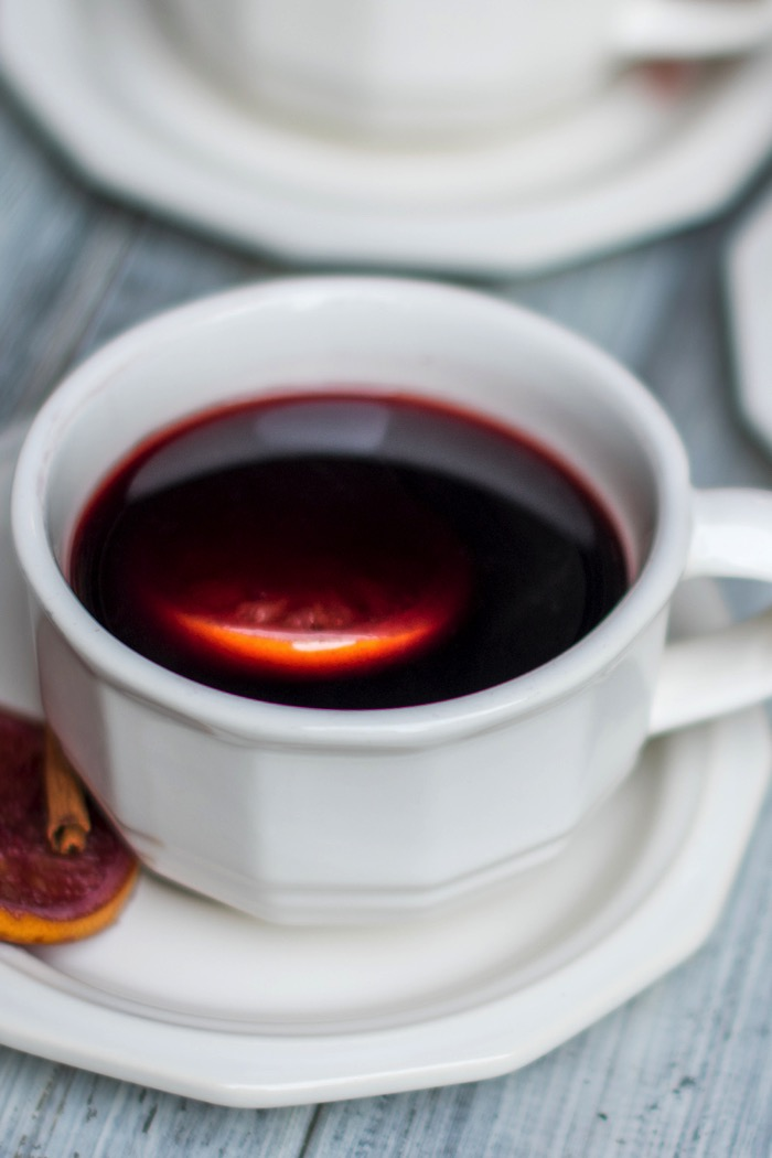 Mulled Wine in a teacup for a winter treat