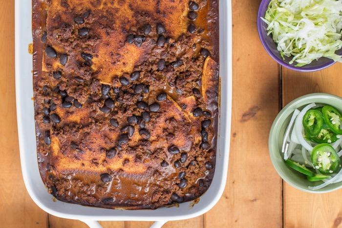 black bean and beef gluten free enchiladas