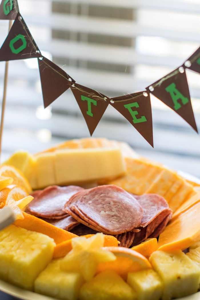 Easy to make salame, fruit and cheese platter for a party