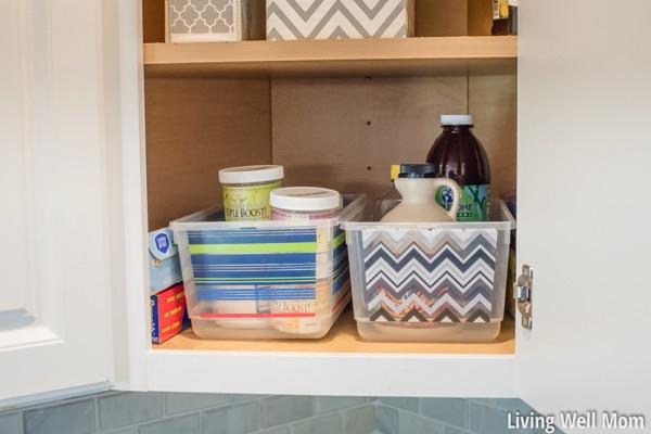 Organized corner cupboard in the kitchen