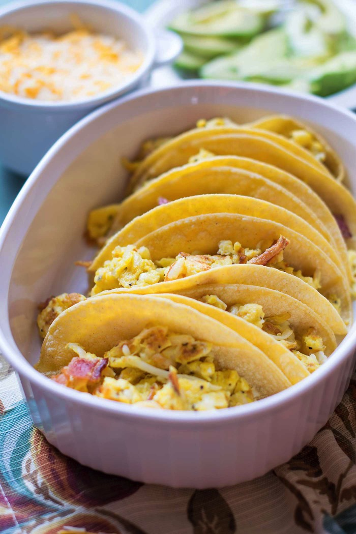 Potato bacon and cheese egg breakfast tacos for a crowd