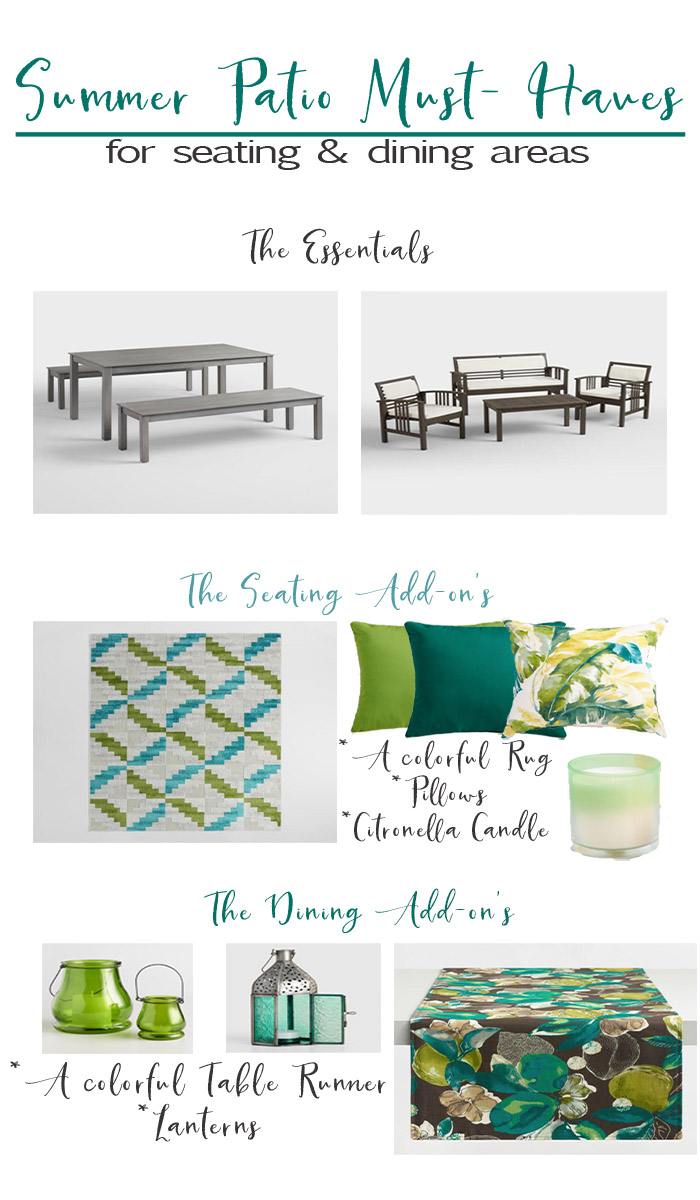 Summer Must Have's from World Market. Everything you need for a seating area and outdoor dining area! #AD #worldmarkettribe #discoverWorldMarket
