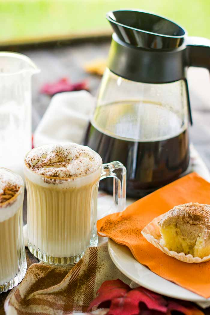 enjoy a maple latte outside on a fall day