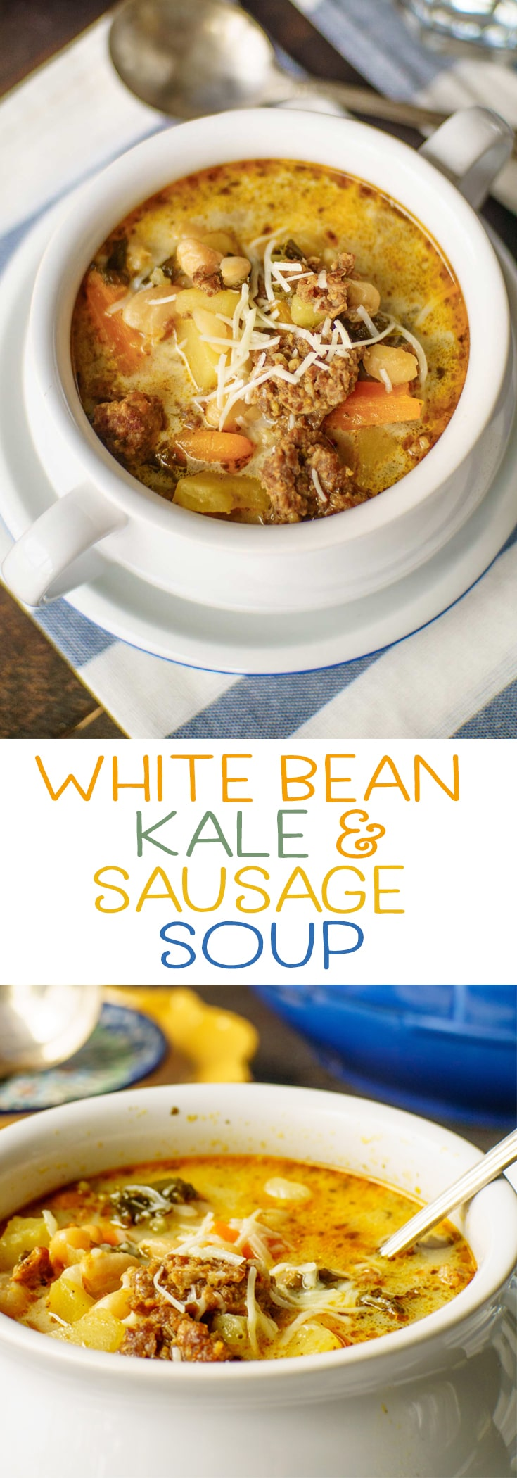 This white bean kale and sausage soup is adapted from that favorite Italian Olive Garden soup you love so much. Filled with sausage, white beans, kale and potatoes - one of our favorite comfort food recipes. Save time by making it in the instant pot! This easy recipe will become one of your favorite weeknight meals. via @mrsmajorhoff