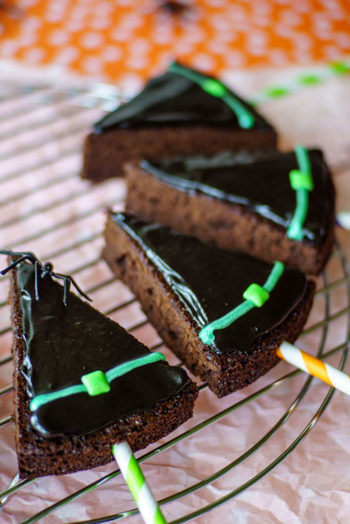 Witch hat brownie pops are simply to make from a brownie mix