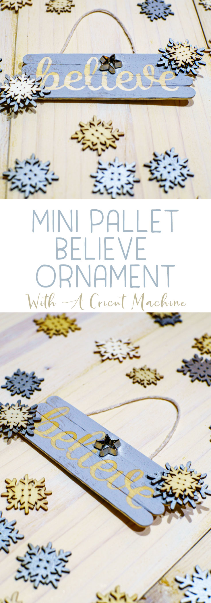 Craft a Believe Ornament that is easy to make with craft sticks and a Cricut Explore Air 2. You'll be amazed how quick they are to make! #cricut #ChristmasOrnament #handmade #FarmhouseChristmas #Believe  via @mrsmajorhoff