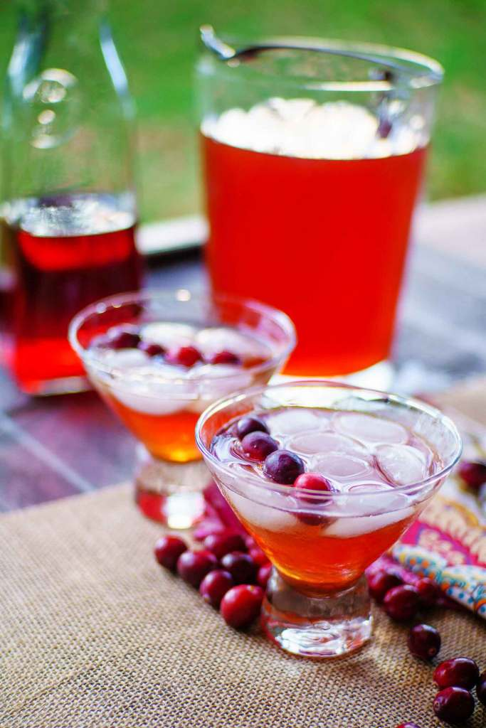 A large pitcher of cranberry tea makes entertaining for a Southern Christmas easy