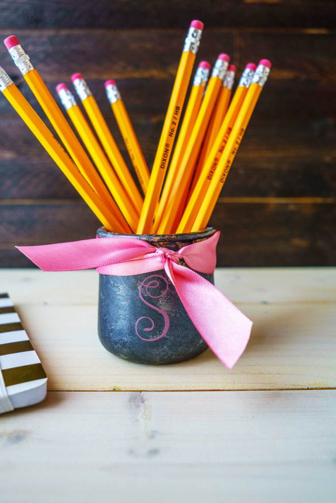 Galvanized metal pencil holder with monogram