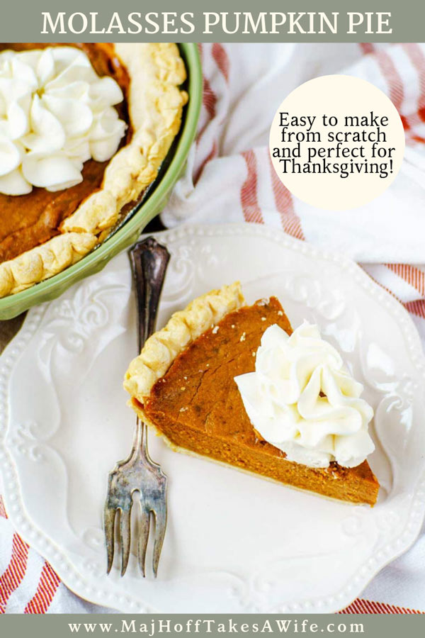 Homemade molasses pumpkin pie is a perfect traditional dessert for your Thanksgiving feast! This old fashioned pumpkin pie recipe is deceptively easy and made from scratch. The filling has the standard pumpkin pie filling with the most common spice mixture, but molasses is added in. There is no evaporated milk, another surprise gives the pie it's lift. via @mrsmajorhoff