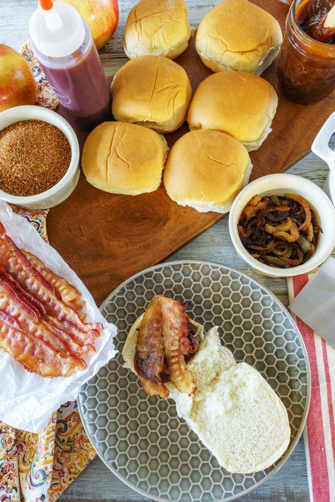 bacon on barbecue chicken sliders