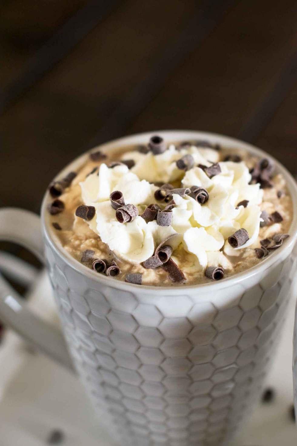 chocolate curls on a caramel vanilla mocha coffee