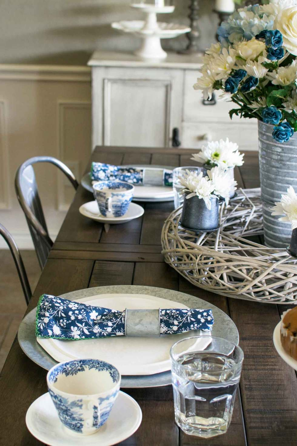 blue and white antique pottery makes a pretty spring table setting