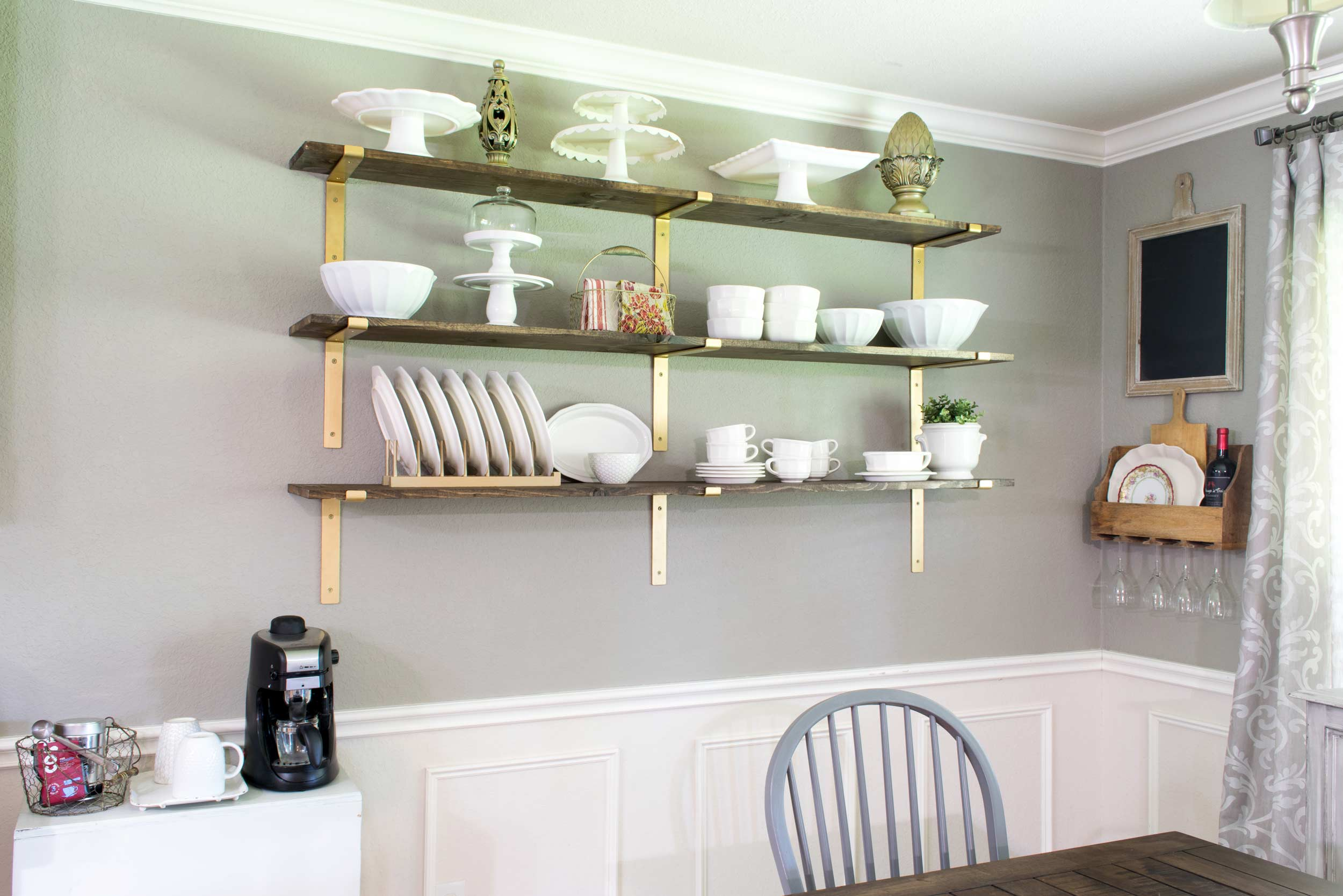 Dining room shelves add more room to display dishes.