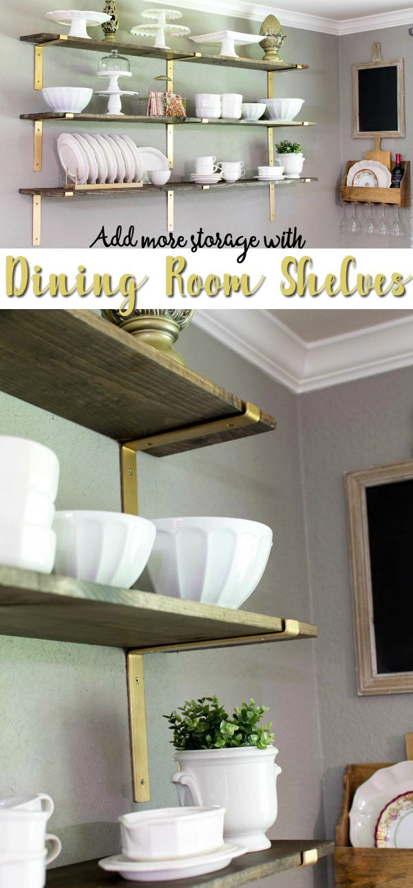 Dining room shelves add more room to display dishes! Take them out of the cabinets and put them front and center on these gorgeous rustic wooden shelves with stylish gold brackets. via @mrsmajorhoff