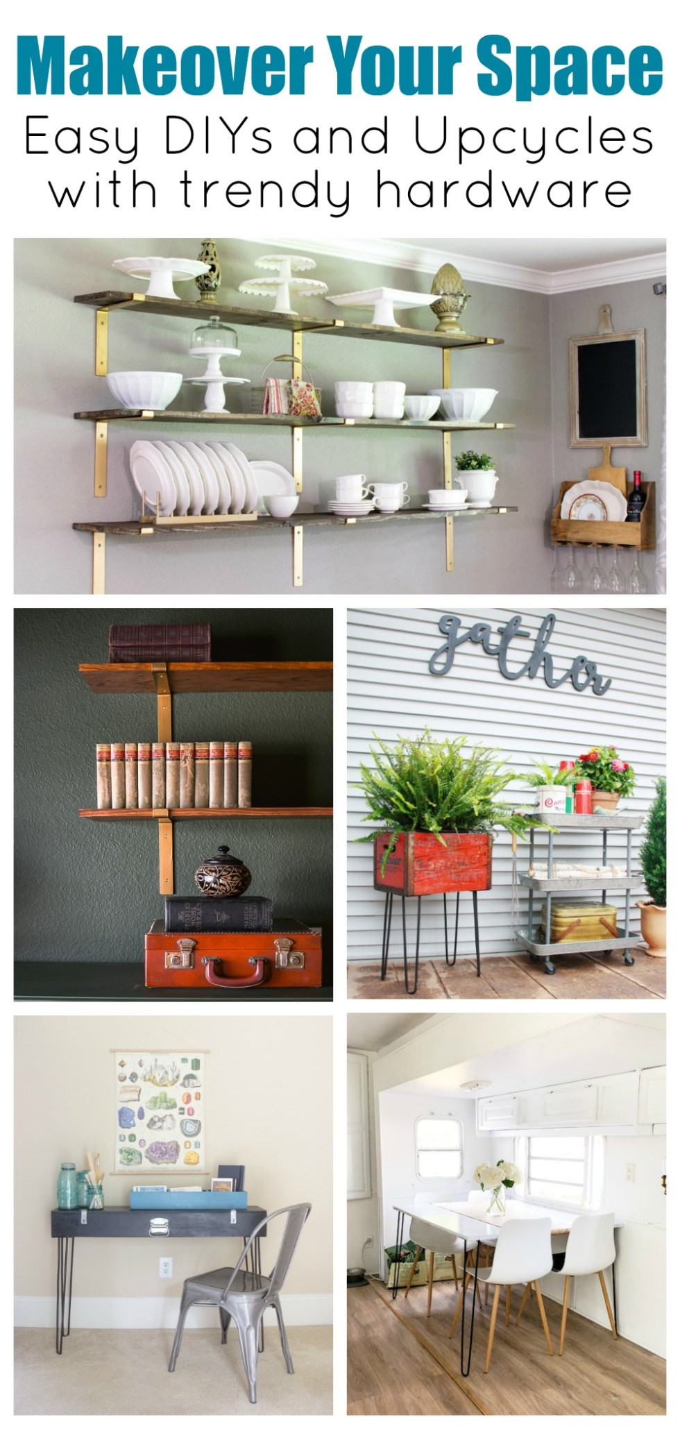 DIYs and Upcycle projects that feature trendy hardware trends like metal brackets and hairpin legs