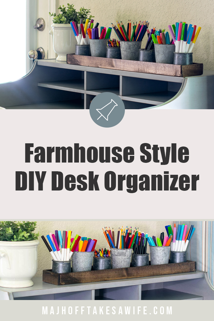 Are you sick of drawers crammed with with markers and pencils? I decided to conquer the student school supply storage problem head on by creating an easy DIY desk organizer that is perfect for all the pencils, markers and crayons they need when they head back to school. This simple tray is easy to build and costs under $10 to make! A great beginner build it adds farmhouse style and decor while functioning as a kids art caddy! Click to see how easy it is to make! via @mrsmajorhoff