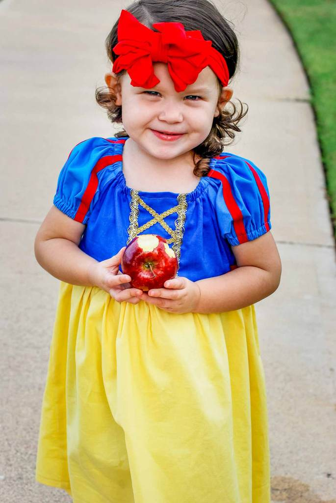 e38c0c7f7cb1 Snow White toddler costume that is sewn from a peasant dress pattern