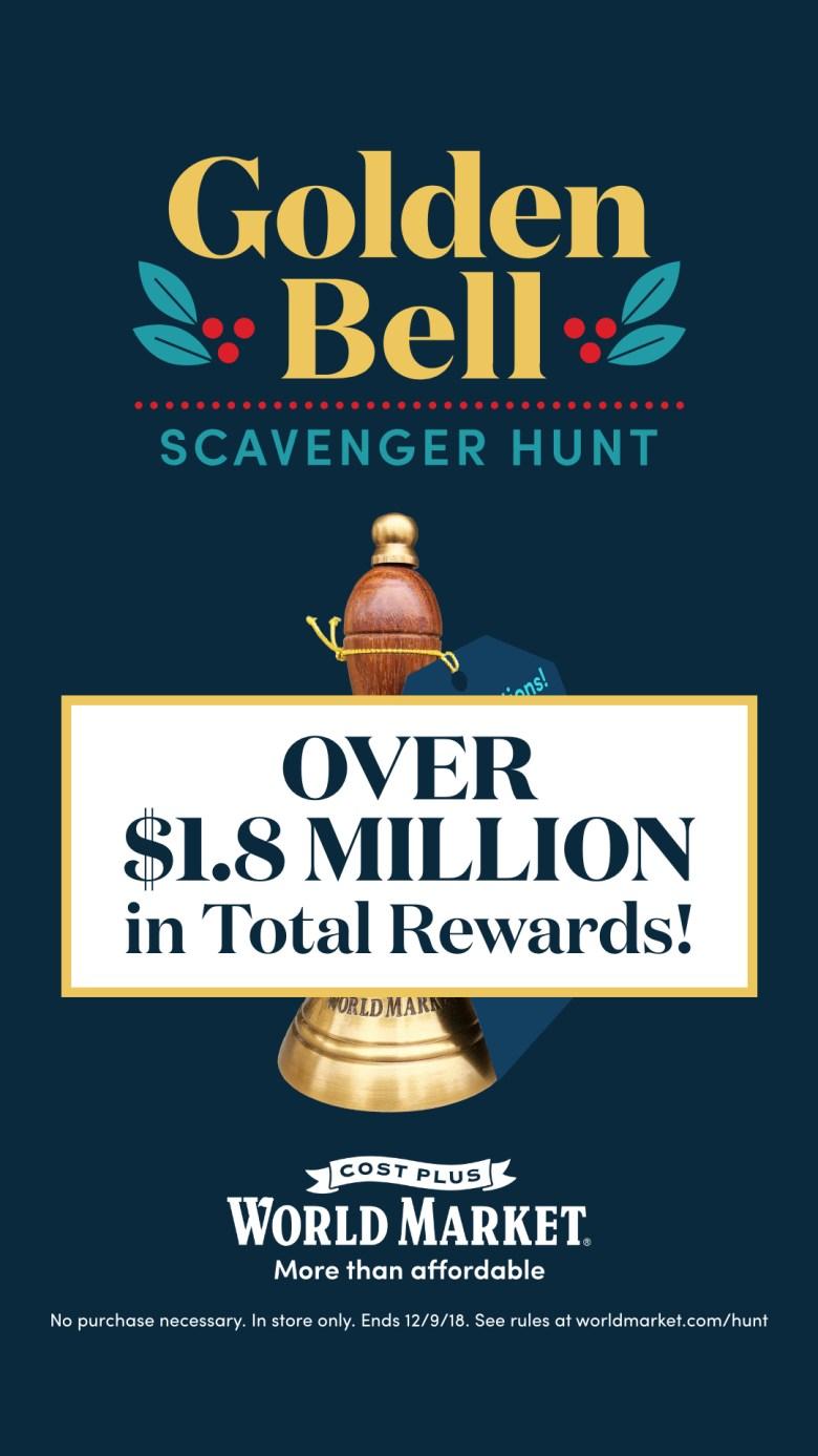 Golden bell scavenger hunt at world market with over 1.8 million $$$ in total rewards!