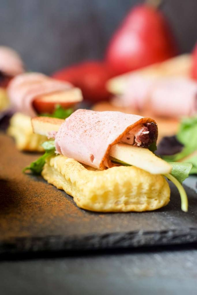 puff pastry shells are perfect for these meat and goat cheese appetizers