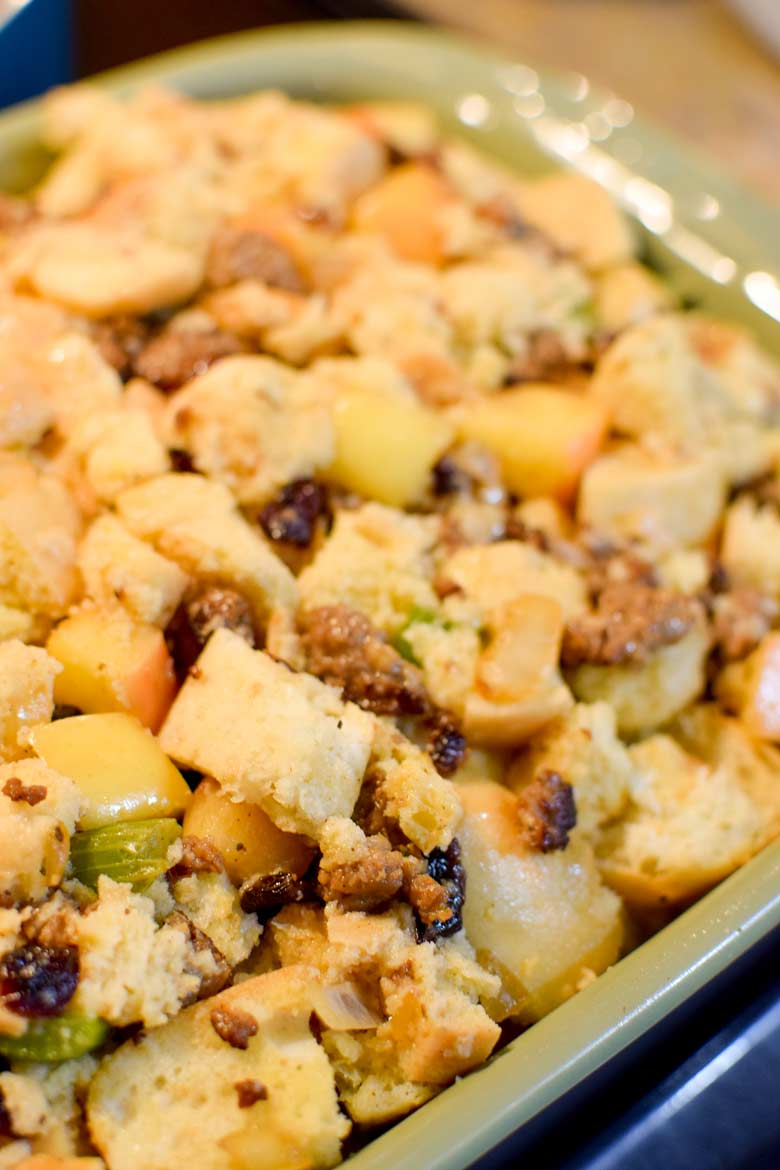 Stuffing recipe in a casserole dish just before being cooked in the oven.
