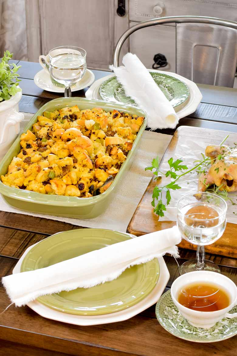 Ditch the stuffing mix and make homemade sausage stuffing to serve for your winter feast