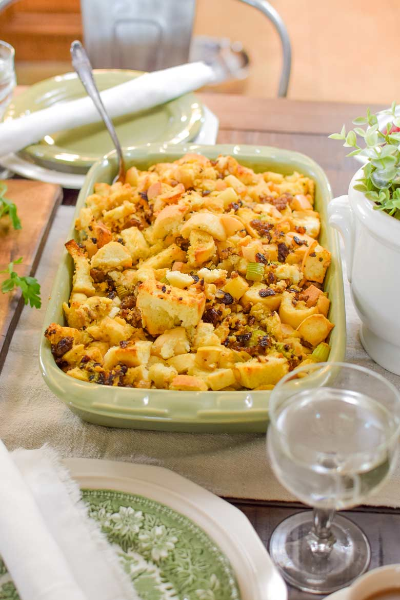 sausage stuffing with apples and cranberries as a Thanksgiving side dish