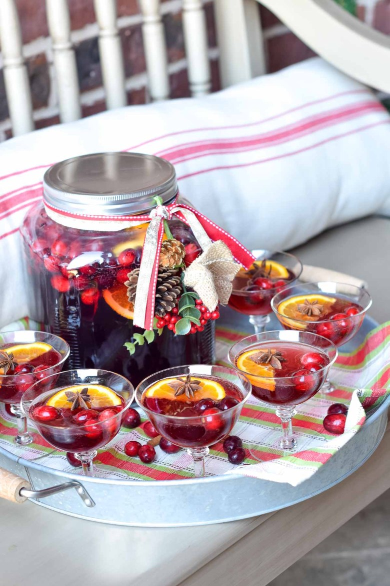 Holiday punches don't have to be served in a punch bowl. This punch is served in a gallon sized glass cracker jar