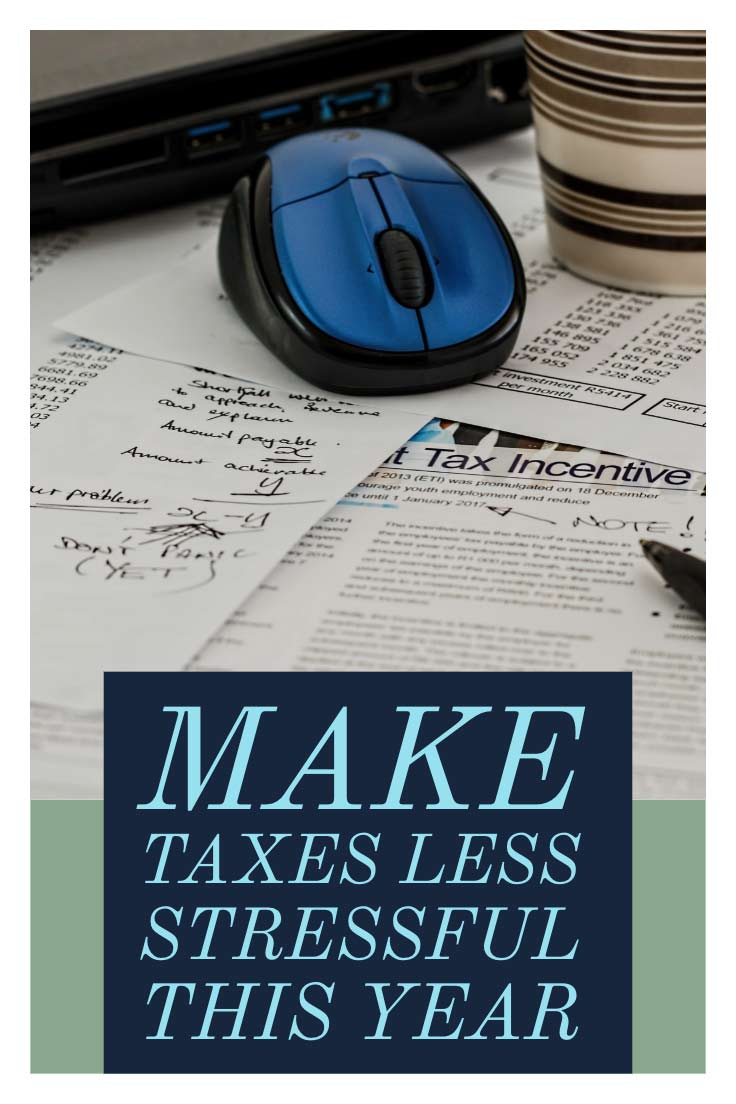 computer mouse and taxes with the words make taxes less stressful this year