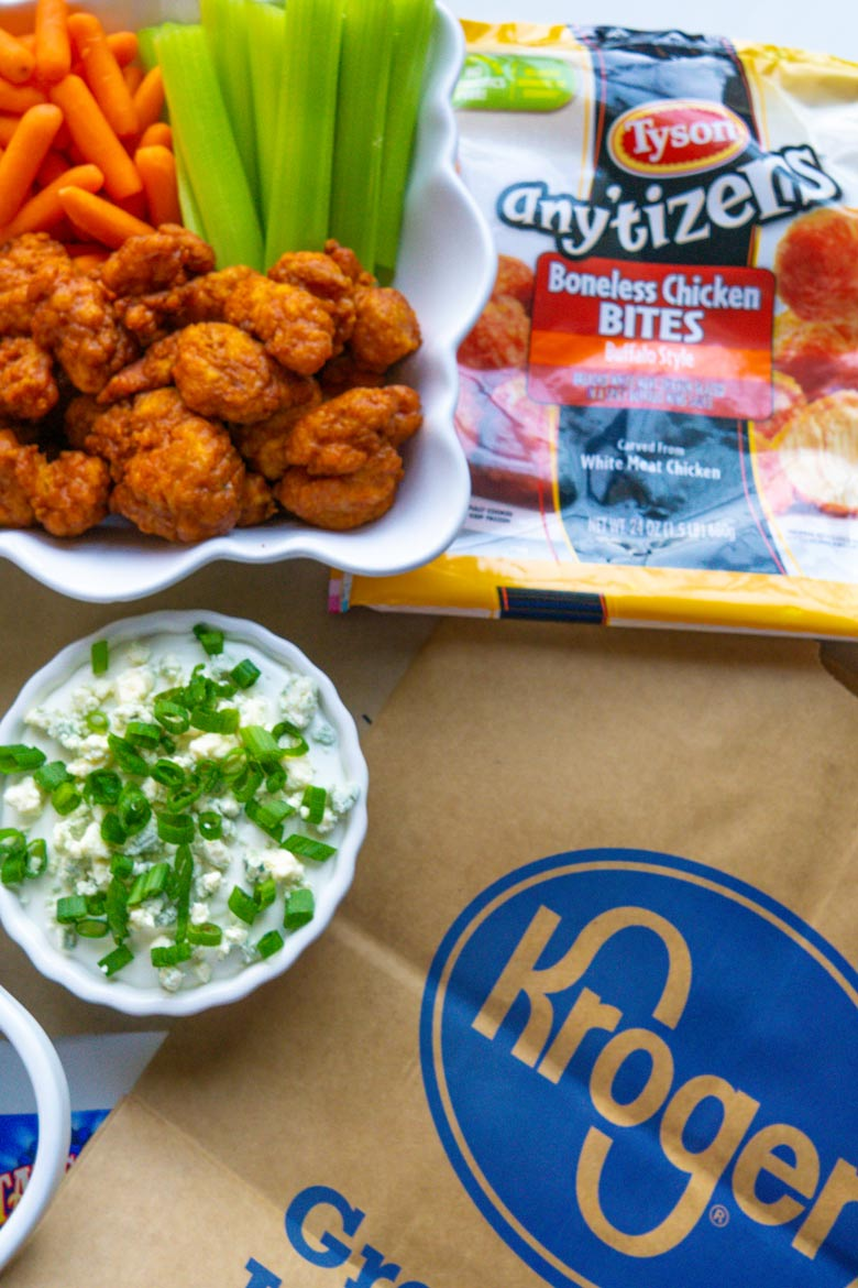 Easy game day appetizers include buffalo chicken with this amazing homemade blue cheese dip that whips up in less than 5 minutes! #gameday #gamedaydips #biggamefood via @mrsmajorhoff
