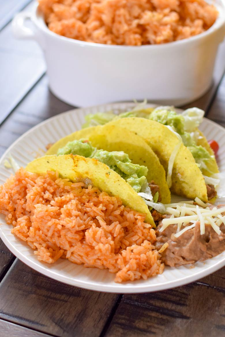 Easy weeknight dinner side dish rice that uses mexican rice seasoning