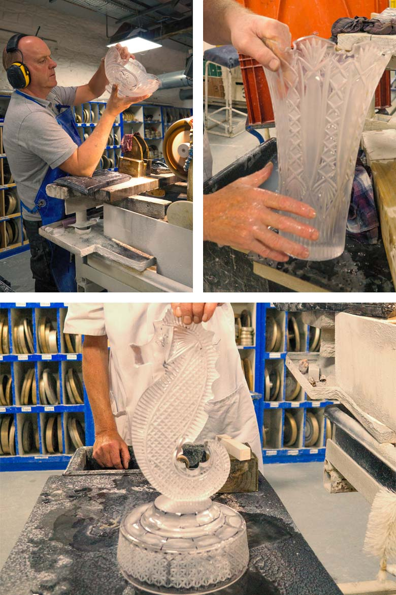 Cutting, inspecting and washing fresh cut glass along with the Waterford trademark seahorse.