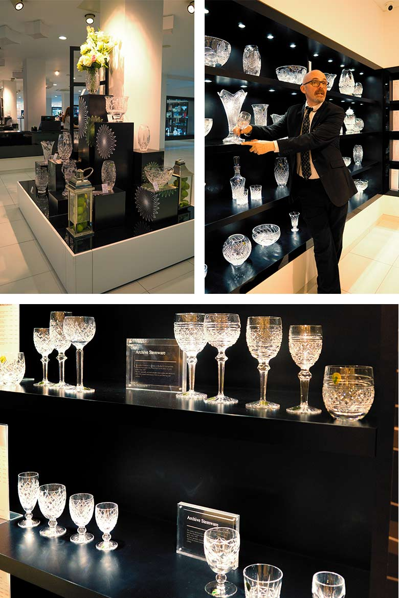 the retail shop at Waterford Crystal