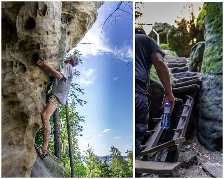 climbing the rocks around the Bohemian Paradise Geopark